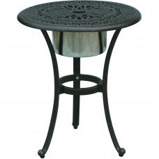 Patio End Table Cast Aluminum Furniture Elisabeth Ice Bucket Insert Bronze