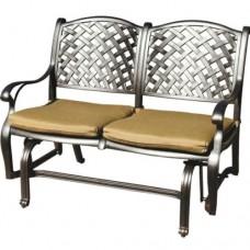 Patio bench love seat Nassau Darlee Cast Aluminum Outdoor glider Couch Bronze
