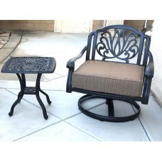 Patio set of 2 cast aluminum furniture 1 Swivel Club chair Elisabeth 1 end table