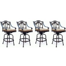 Patio set of 4 Bar stool Palm tree outdoor cast aluminum swivel barstools Bronze