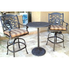 Patio set of 3 cast aluminum Furniture Flamingo Bronze Outdoor Bistro