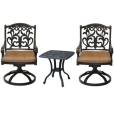 Outdoor bistro patio furniture 3pc Flamingo swivel rocker cast aluminum bronze