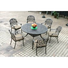 "Outdoor furniture set patio chairs round table 60"" Elisabeth aluminum Bronze"