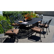 Patio dining set 7pc Elisabeth Cast Aluminum oval table outdoor Desert Bronze