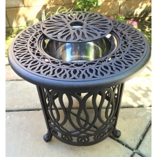 Patio End table Cast Aluminum Ice Round Darlee Elisabeth table- Antique Bronze