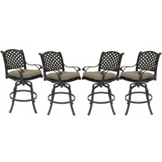 Patio bar stools Set of 4 Outdoor Furniture Nassau Swivel Aluminum Bronze