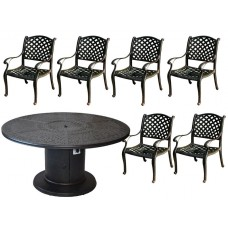 Fire pit patio 7 piece dining set outdoor cast aluminum grill / propane table