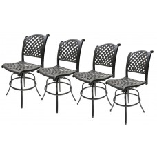 Swivel Bar Stools Set of 4 Outdoor Patio Furniture Nassau Sunbrella Cushions