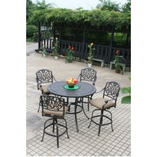 "Outdoor Living Elisabeth Cast Aluminum 5pc Bar High 48"" Table bar stool Bronze"
