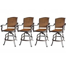 Patio outdoor bar stool's set of 4 swivel Santa Clara aluminum Wicker Furniture
