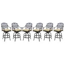 Patio bar stools set of 6 Elisabeth cast aluminum Outdoor Darlee Barstool Bronze
