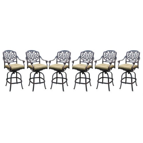 patio bar stools set of 6 elisabeth cast aluminum outdoor barstool
