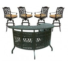 5 Piece Cast Aluminum Patio Party Bar Set With Swivel Bar Stools Outdoor Decor