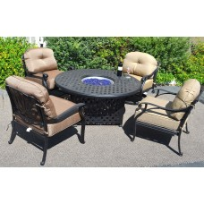 Fire Pit Table Set Elisabeth Propane 5pc Patio Furniture Outdoor Dining Aluminum