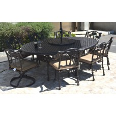 "Patio dining set cast aluminum 10 pc Nassau table 70""x100"" and Palm tree chairs"