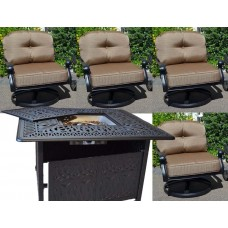 Outdoor Fire Pit Table set Patio Fireplace Propane Cast Aluminum Elisabeth 5pc