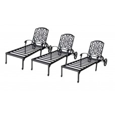 Patio lounge set 3 Adjustable Chaise Outdoor Elisabeth Cast Aluminum Bronze