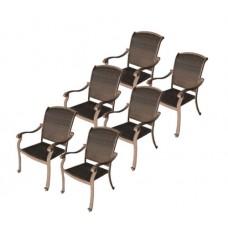 Patio Set Of 6 Chairs Outdoor Santa Clara Cast Aluminum All Weather Wicker Mocha