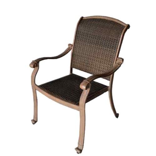 Patio Chair Santa Clara Outdoor Cast Aluminum Furniture Wicker Mocha    Bronze