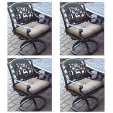 Patio set of 4 dining chairs outdoor Cast Aluminum swivel rocker Flamingo Bronze