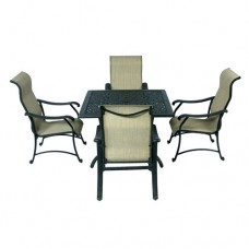 Patio set of 5 Table Chairs sling Furniture outdoor Dining dark Bronze