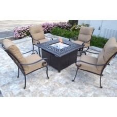 Patio conversation set cast aluminum Furniture Propane fire pit table 5 pc