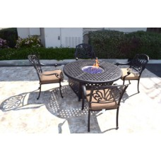 Outdoor Patio Furniture Set 5Pc Propane Gas Fire Pit Table 4 Elisabeth Chairs