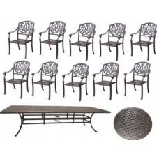 "12pc Patio furniture dining set 10 Elisabeth dining chairs / 1 table / 30"" Susan"