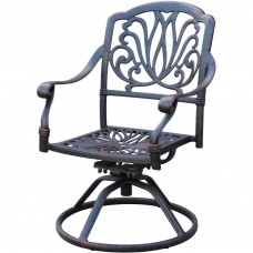 Outdoor Patio Dining Swivel Rocker Chairs Cast Aluminum Elisabeth Bronze