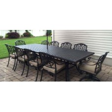 Patio dining set Elisabeth 11pc outdoor furniture Cast Aluminum chairs and table