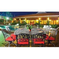 Patio set Outdoor furniture dining table chairs Aluminum Elizabeth Bronze