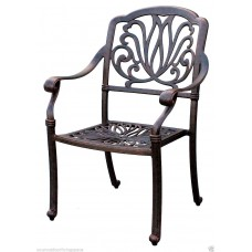 Outdoor furniture patio dining chair Elisabeth cast aluminum Desert Bronz