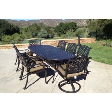Patio set 9pc cast aluminum luxury outdoor furniture dining Nassau table Bronze